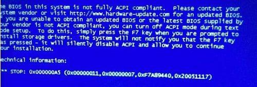 Исправление ошибки 0x000000a5 при установке Windows
