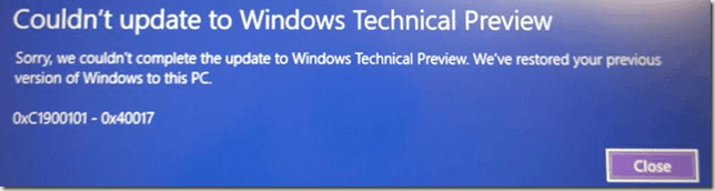 Решено: Ошибка 0xC1900101 – 0x40017 при обновлении Windows 8 до Windows 10