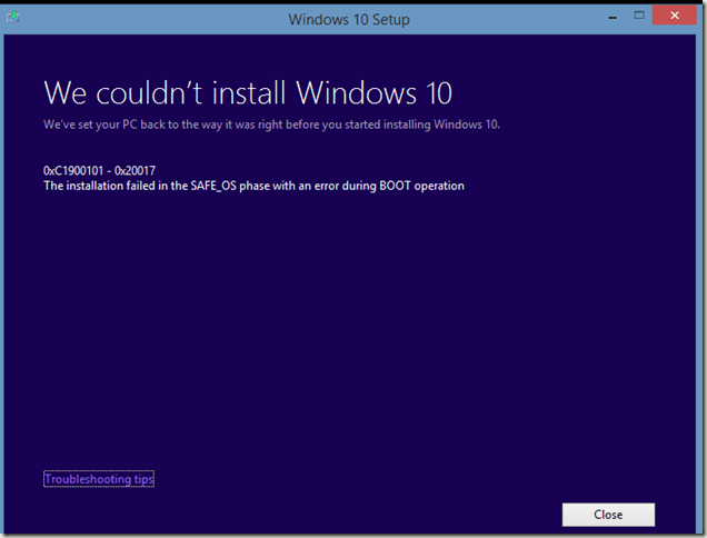 Решено: Ошибка C1900101-20017 при обновлении до Window 10