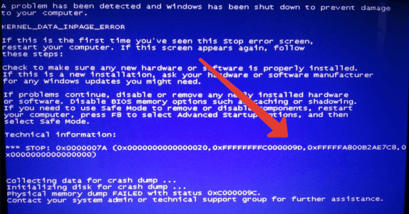 0x0000007a KERNEL DATA INPAGE ERROR