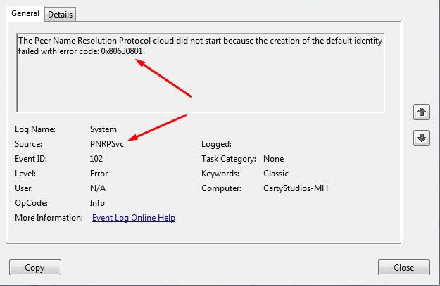 """Решено: Служба """"Протокол PNRP"""" завершена, код ошибки 0x80630801"""
