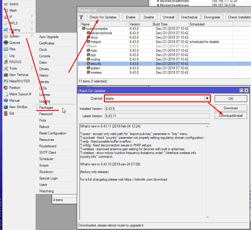 Как обновить прошивку Mikrotik из командной строки